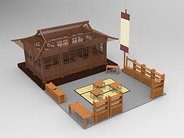 中式茶室场景建模、渲染、实物