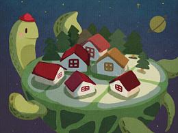 #夜晚系列#儿童插画~by海牙Hiya