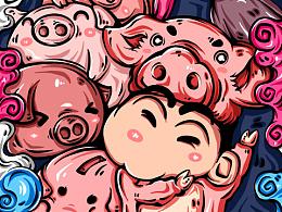 国潮插画系列作品 十二生肖——猪