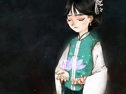 水墨古风插画习作《重莲》