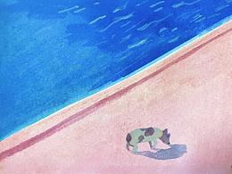 粉红色的午后-塞纳河边的狗