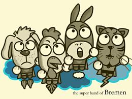 《不莱梅乐队》卡通形象设计,361°童装