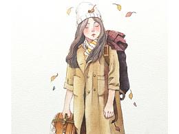 水彩图文笔记:森系少女②