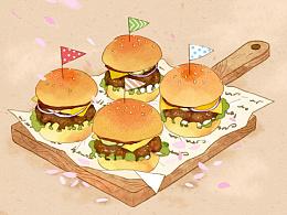 插画设计:汉堡包