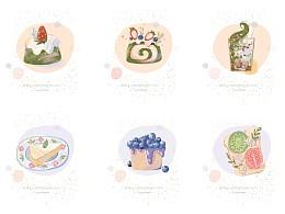 甜品 蛋糕 插画