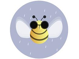 一只可爱的大眼蜜蜂