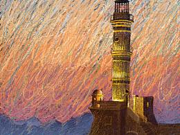 黄昏下的灯塔
