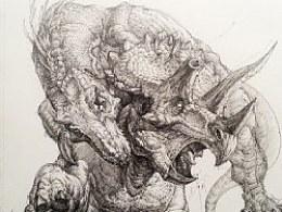 恐龙来啦!!!很久没在纸上画画了~
