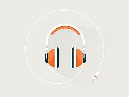 扁平风格-耳机