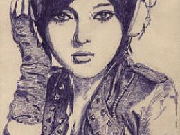 圆珠笔美女手绘