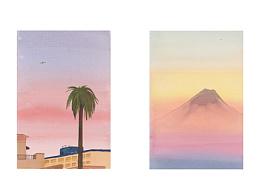 2017年画的一些山和房子......