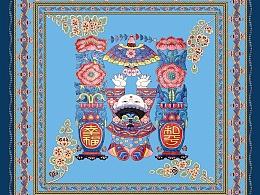 农民画民族风丝巾图案