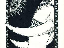 黑白手绘 《祈祷》系列