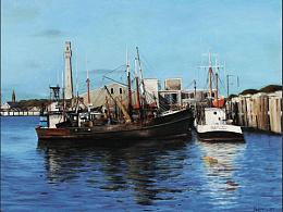 油画作品《海港》