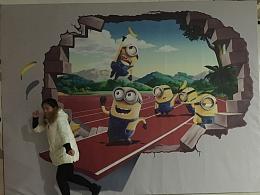 小黄人家族3D墙画