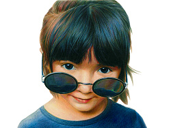 彩铅作品《戴墨镜的小女孩》