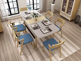 3D效果图【北欧原木餐桌椅】