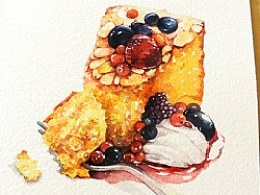 金鱼手绘美食——杏仁蛋糕