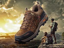 登山鞋创意合成