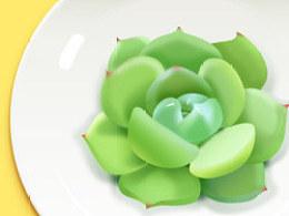 临摹绿色的肉肉软妹子植物