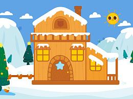 儿童画-雪景小图图