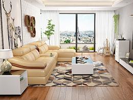 客厅+餐厅设计3D设计,家具3D设计 淘宝家居3D效果图设计