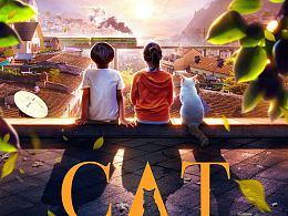 《屋顶上的猫》概念海报