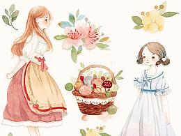 各种小少女与花