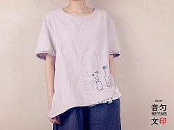 【韵文】原创女式纯棉质感手工刺绣短袖t恤文艺清新2013新款包邮