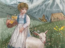 阿尔卑斯山下的少女