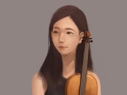 学小提琴的她