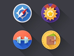 长投影 icon 练习(附PSD)