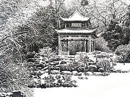 精细钢笔画雪景练习《爱晚亭》