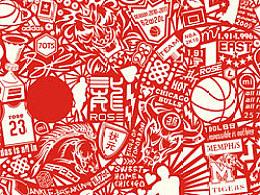 德里克·罗斯-矢量与纯手绘插画罗斯元素