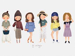 一组女孩服饰系列