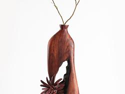 红木木插花器