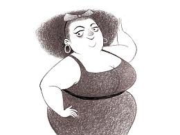 新发型的胖妇人