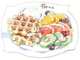 咖啡陪你caffebene海报食物插画