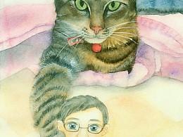 帮朋友的喵咪画的水彩画。