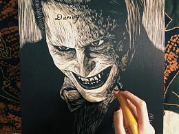 手工雕刻【小丑·莱托少爷】黑白木刻版画