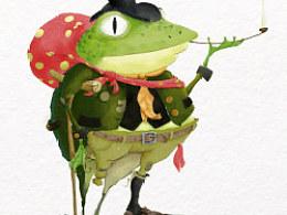 儿童插画·瘸腿的流浪蛙