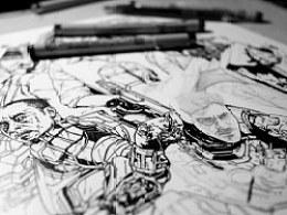 ACEWORKS——IRONMAN3单色手绘海报