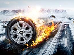 轮胎飘逸动态特效海报
