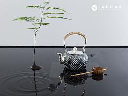 静物摄影-银壶茶器