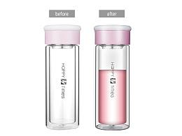 修图 粉色玻璃杯