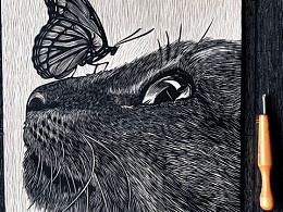 手工雕刻黑白木刻版画动物