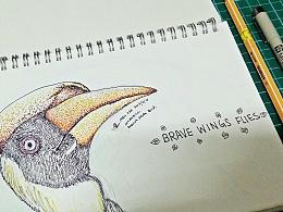 Sketch| Hornbill: Brave Wing Fly