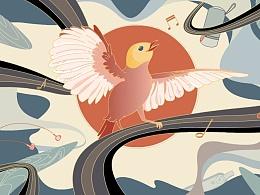 【东方夜莺】—小鸟音响外套图案设计