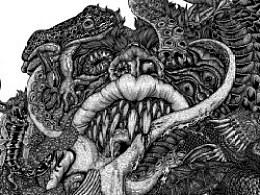 《七宗罪——饕餮》 纸本手绘 高清细节