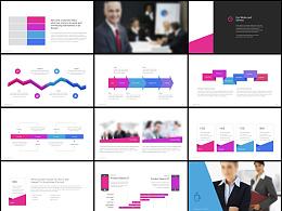 125页欧美高端炫酷色彩团队介绍数据图表计划总结动画PPT模板